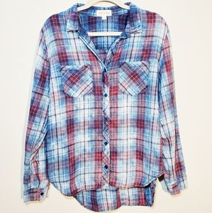 Anthro Cloth & Stone Blue Plaid Button Up Top